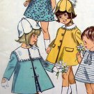 6949 Vintage 1966 Little Toddler Girls Dress Hat & Coat Pattern  sz 1