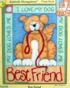 Candamar Embellished Cross Stitch ~ BEST FRIEND ~ Dog 8X10 - 2004