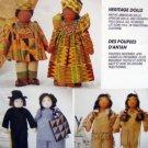 "7116 Heritage Folk  African Native American Dolls Pattern  15"" UNCUT - 1994"