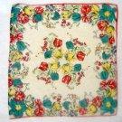 """Vintage Floral Rayon ? Handkerchief Hankie 11"""""""
