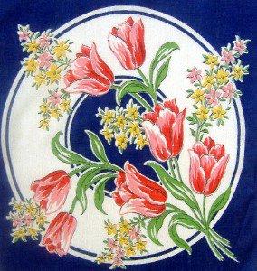 "Vintage Navy Blue with Tulips Handkerchief Hankie 12"""