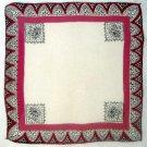 "Vintage Burgundy Border Handkerchief Hankie 12.5"""