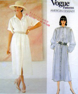 1126 Vogue JOHN ANTHONY  Front Button Dress  Pattern sz 8-12 UNCUT -