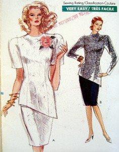 Vintage 7424 VOGUE Slanted Hem Top & Skirt Pattern sz 6-10 UNCUT - 1989