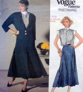 1588 Vogue CHLOE Jacket Skirt Blouse Pattern sz 8 UNCUT - 1985