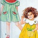 7784 Girls Dress Pattern with Flower Watermelon Strawberry Designs UNCUT 1992