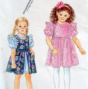 9308 Easy Little Girls Dress & Front Split Pinafore Pattern sz 2-6X UNCUT - 1994