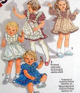 5257 Cinderella Toddler Girls Apron Front Dress Pattern  sz 1 UNCUT - 1981
