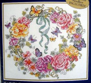 """Bucilla Stamped Cross Stitch Kit ~  Rose Ivy Heart Wreath ~ 15X15"""" Baatz - 1999"""