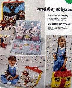 Carry Along House with Bunny Bear Families & Clothes Pattern UNCUT - 1989 Schewe
