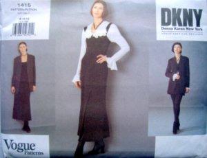 1415 Vogue DKNY Jacket & Dress Shorts Pattern sz 8-12 UNCUT 1994