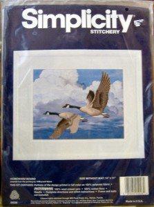 "Simplicity Crewel Kit Canada Geese~ HOMEWARD BOUND ~ 14X11"""