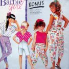 7125 Barbie Girl Capri Pants Shorts & Tops Pattern sz 7-14 UNCUT - 1991
