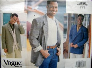 2852 Vogue Mens Jackets sz 38-42 UNCUT