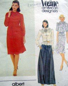 2749 Vogue ALBERT NIPON Blouse Skirt & Belt Flower Pattern sz 8 UNCUT