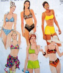8813 Ladies 2 Piece Swimsuits Sarong Pattern  sz 8 UNCUT - 1997