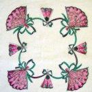 Vintage Flower Border & Fans Scalloped Edge Handkerchief Hankie