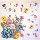Vintage Flowers Shaped Edge Handkerchief Hankie