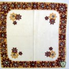 Vintage Brown  Flower Border Ireland Handkerchief Hankie with Sticker