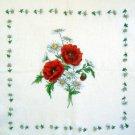 Vintage Red Poppies & Daisies Spray Sheer Flowers Handkerchief Hankie