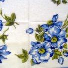 Vintage Blue Flowers Handkerchief Hankie