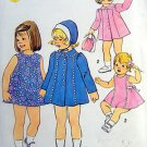 Vintage Toddler Girls Dress Coat & Brim Hat  Pattern size 1 UNCUT - 1975