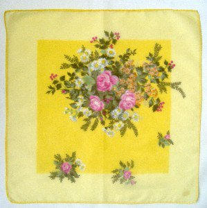 "Vintage Handkerchief Hankie  Floral ~ ROSES on YELLOW ~  12.5"""