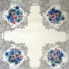"Vintage Handkerchief Hankie ~ Sheer Flower Bouquets ~  12"""