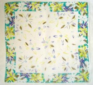 "Vintage Handkerchief Hankie PIERRE CARDIN Floral ~ DECO FLOWERS ~  17"""
