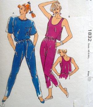 1832 Kwik Ladies One Piece Jumpsuits Pattern size XS-XL UNCUT - 1988