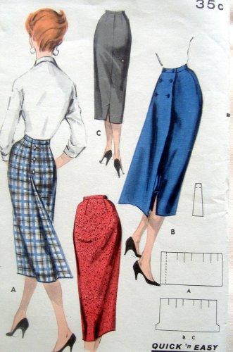 Vintage 7915 SLIM SKIRT Pattern 3 VIEWS Hip sz 38 Waist sz 28 UNCUT
