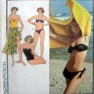 Vintage 4724 SWIMSUIT ASYMMETRIC BIKINI & SKIRT Pattern sz 6-10 UNCUT 1986