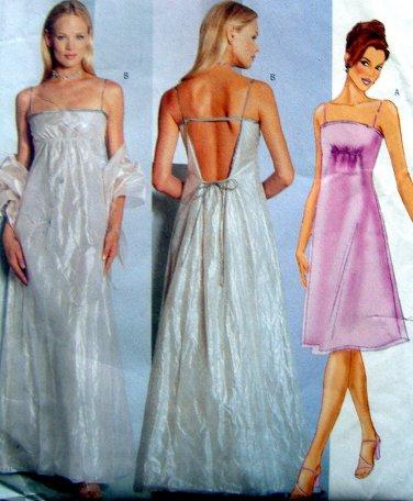 6395 HIGH WAIST DRESS & STOLE Pattern sz 12-16 UNCUT - 1999