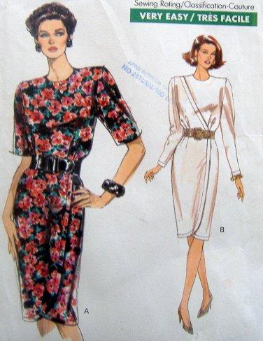 7687 Vogue Misses Mock Wrap Dress Pattern sz 12-16 UNCUT 1990