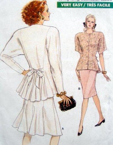 7089 Vogue Ladies Top & Skirt Pattern sz 6-10 UNCUT - 1987T -