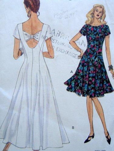 8654 Vogue Misses Summer Flared Dress Pattern sz 6-10 1993 UNCUT