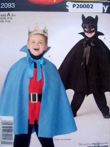 2093 Easy Child Cape Hood Robe Costume Pattern sz S-L UNCUT