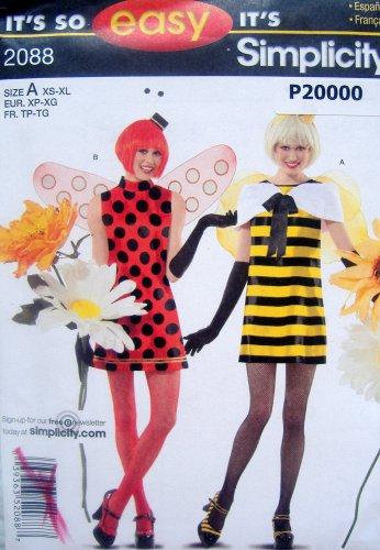 2088 Easy Misses Sexy Bee & Ladybug Costume Pattern sz XS-XL UNCUT