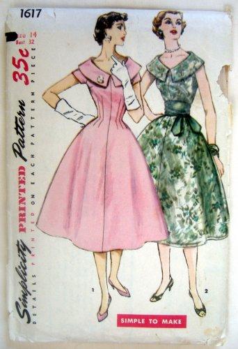 Vintage Simplicity 1617 Princess Style Dress & Sash Pattern sz 14 - 1956