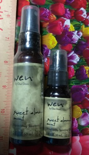 Wen SWEET ALMOND MINT Replenishing Treatment Mist 2 oz + Straightening Smoothing Gloss 1 oz