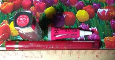 Obsessive Compulsive Stained Gloss + LOreal La Lacque Lip Colour + Revlon Ultra HD Lipstick