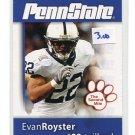 EVAN ROYSTER 2008 Penn State Second Mile RB Washington Redskins