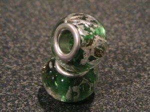 Murano Glass Bead Silver fits Pandora & Troll S150 GREEN w/ gold & silver foil