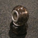 Murano Glass Bead Silver fits Pandora & Troll S151 SMOKED w/ gold & silver foil