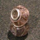 Murano Glass Bead Silver fits Pandora & Troll S155 PINK w/ gold & silver foil