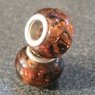 Murano Glass Bead Silver fits Pandora & Troll S156 AMBER w/ gold & silver foil
