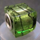 Murano Glass Bead SQUARE CUBE fits Pandora & Troll C515 Clear Green Metallic w/ Black Stripes