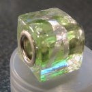 Murano Glass Bead SQUARE CUBE fits Pandora & Troll C519 Clear Green w/ Silver Stripes