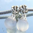 Murano Glass DANGLE Silver Bead fits Pandora & Troll D403 White Frost