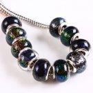 Murano Dichroic Lampwork Glass Bead fits Pandora & Troll S279 Red, Yellow, Purple, Blue & Green